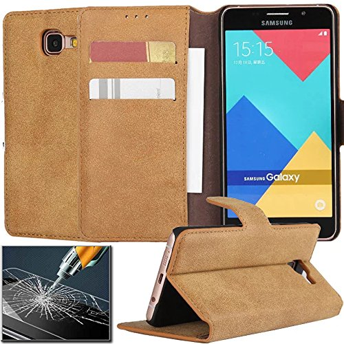 AICOO Samsung Galaxy A3 2016 A3100 Case with Screen Protector, YCL Retro Vintage Matte PU Leather Cards Slots Folio Flip Wallet Stand Case Cover with Clear Tempered Glass Protective Film - Wine