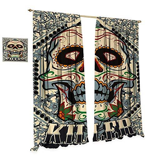 Anniutwo Sugar Skull Room Darkening Wide Curtains Sugar Killer Calaveras Framework Day of The Dead Vintage Gothic Design Print Customized Curtains W96 x L108 Multicolor ()