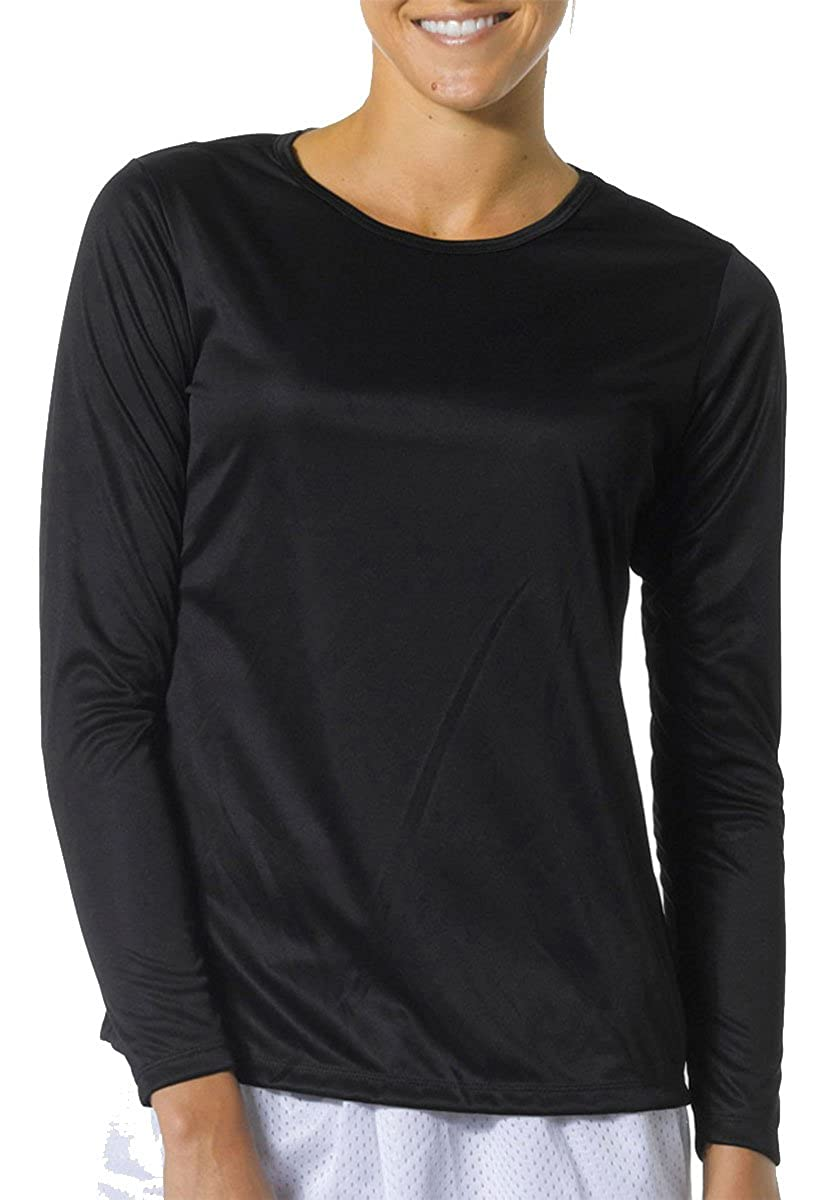 A4 Womens Long Sleeve Cooling Performance Crew Shirt (NW3002) BLACK