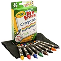 Crayola; Dry-Erase Crayons; Art Tools; 8 Count; Washable; Perfect for Classroom Art Activities; Includes Sharpener and…