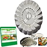 Vegetable Steamer Basket for Pot. Best Fordable Black Decker stainless steel Steaming Tool Fruit and Veggies insert fit Large-Small Steaming Container-perfect Aroma Steamed Experience