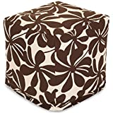 Majestic Home Goods Chocolate Plantation Indoor/Outdoor Bean Bag Ottoman Pouf Cube 17'' L x 17'' W x 17'' H