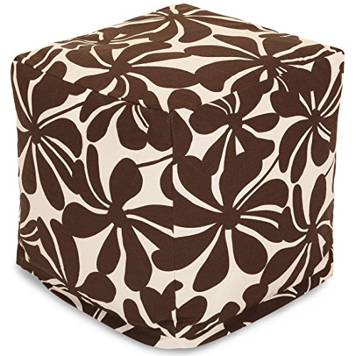 """Majestic Home Goods Chocolate Plantation Indoor/Outdoor Bean Bag Ottoman Pouf Cube 17"""" L x 17"""" W x 17"""" H"""