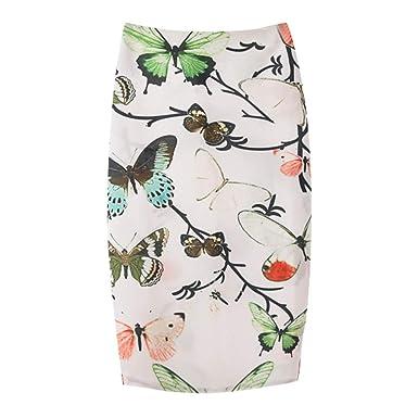 KPILP - Falda - Vestido - Animal Print - para Mujer Blanco 42 EWS ...