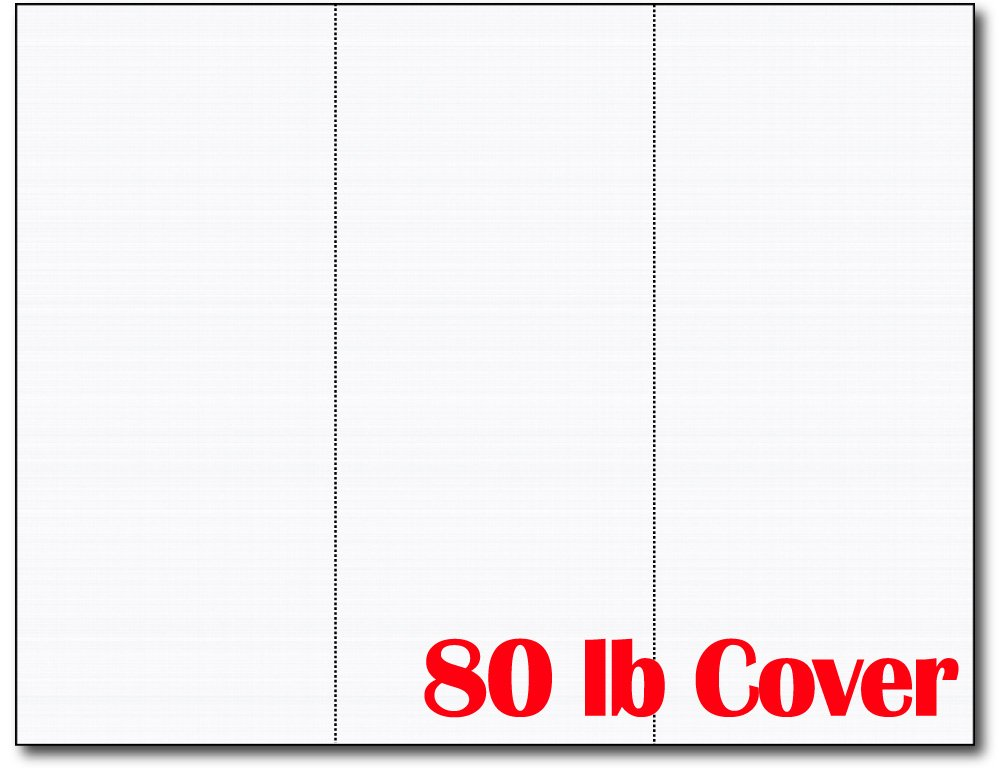 3up 80lb White Linen Textured Menu Cards / Connection Cards / Rack Cards - 25 Sheets / 75 Pieces