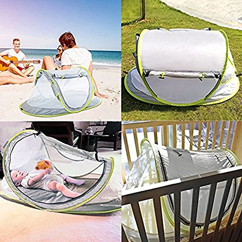 Baby Travel Tent,Portable Ultralight Folding Baby Beach Tent Pop Up UPF 50+ UV Travel Bed Cribs Protection Sun Shelter Shade for Baby Under Age 2 (Grey/Green) by Anyshock (Image #5)