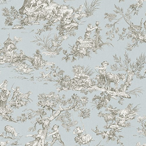 Chesapeake 3112-002776 Whitney Light Blue Toile Wallpaper Whitney Toile Wallpaper