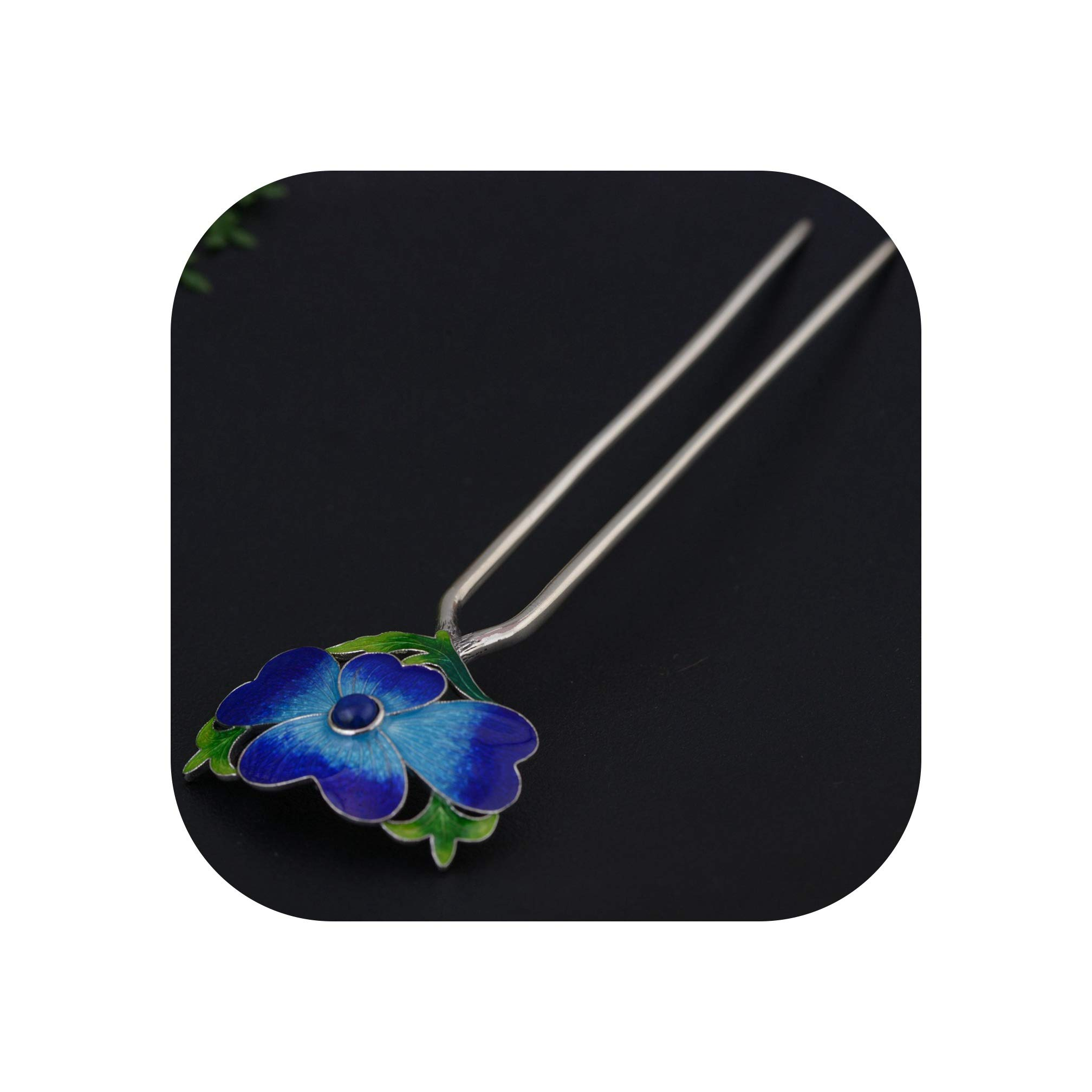 Cloisonne Silver Hair Stick Enamel Silver Chinese Hairpin 2 prong Peony Flower Hair Fork Jewelry Wedding 100x32mm WIGO1301,WIGO1301 Blue 1pc