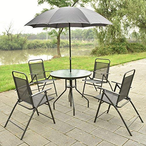 Set 6 Pcs. 4 Folding Chairs Table with Umbrella Gray Outdoor Furniture New, Patio Set Garden Lawn (Wicker Settee Vintage)