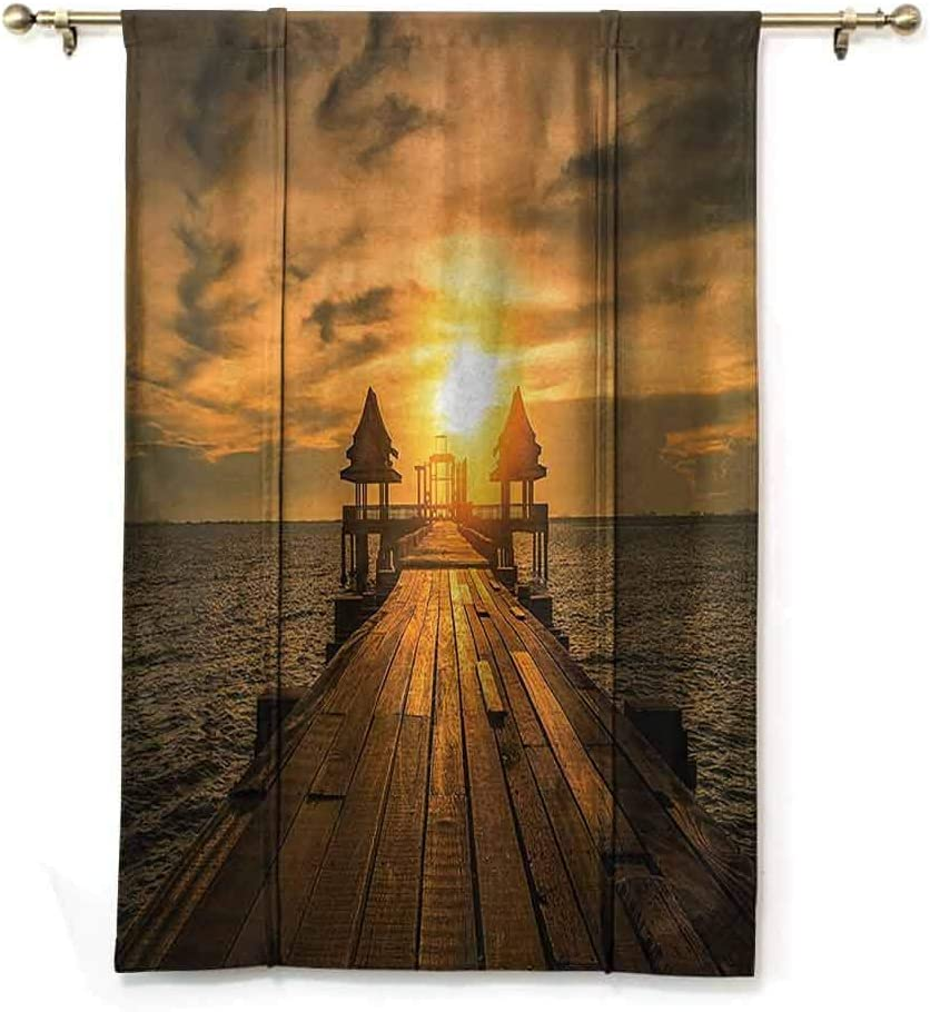 Lcxzjgk Indoor Roman Curtain Scenery Decor Privacy Protection Wooden Dock Bangkok Bay Morning Lights Sunshine and Ocean Print,W36 x L72 Blue Brown and Gold