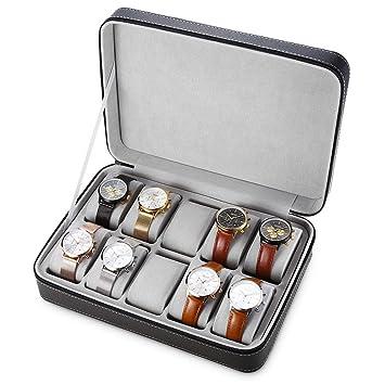 JUZIWEI Estuche para Relojes con 10 Compartimentos Cuero ...