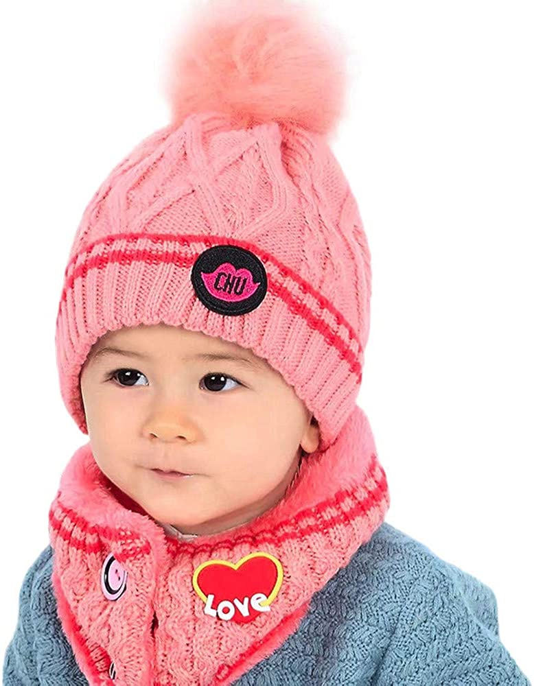 Memela Baby Winter Hat,Baby Kid Beanie Girl Cap Neckerchief Knitted Winter Scarf Warm Children Hats