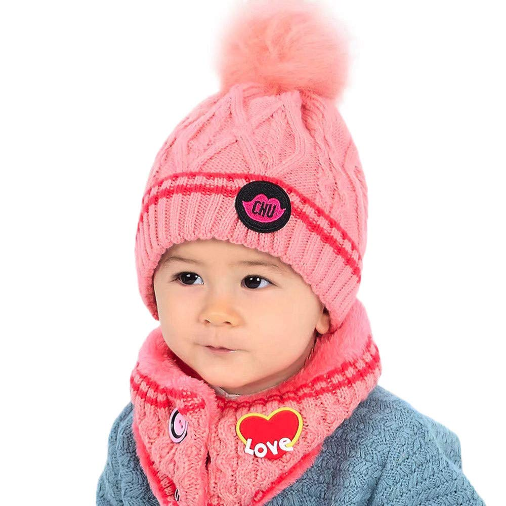 Amazon.com  Longay Baby Kid Beanie Girl Cap Neckerchief Knitted Winter  Scarf Warm Children Hats (Pink)  Baby 1b2348389a4
