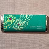 Personalized Perfect Peacock Chocolate Bar Wedding Favor W1049-11 Quantity of 1