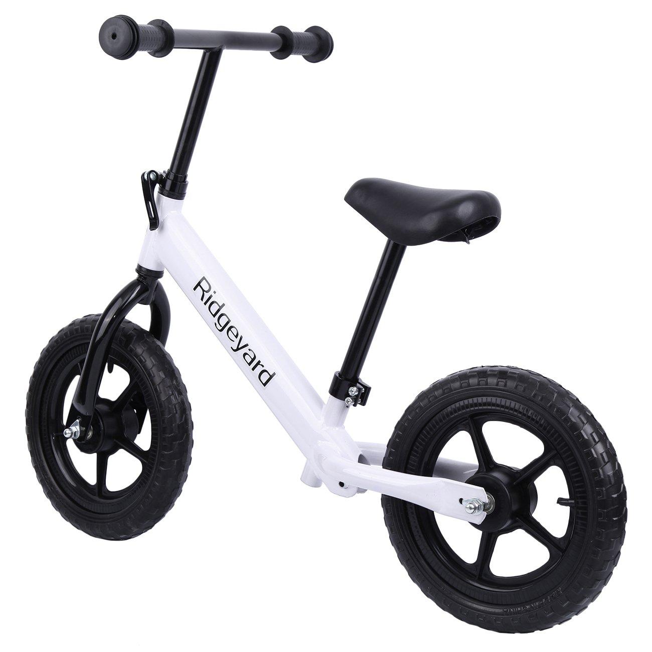 Ridgeyard 12'' White Kids Balance Bike Adjustable Frame No Pedal Walking Balancing Bicycle (Age 2-6)