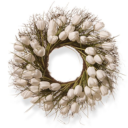 White Artificial Wreath - National Tree 24 Inch Branch Wreath with White Tulips (RAS-HY55724W-W1)