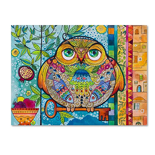 Judaica Folk Owl by Oxana Ziaka, 24x32-Inch Canvas Wall Art