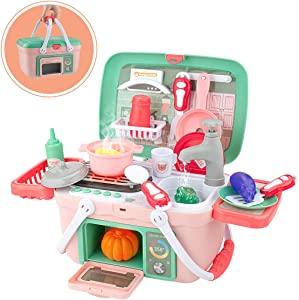 SHAWE Kids Kitchen Playset Toys 30 Pieces Pretend Play Chef Cooking Kitchen Set, Portable Basket Toy with Musics,Lights,Spray,Play Foods,Sink,Pretend Play Oven, Kitchen Accessories Toys for Girls Boys