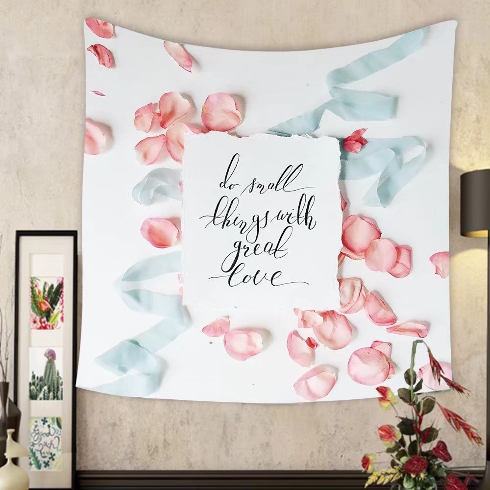 Keshia Dwete Custom tapestry quote do small things with great love written in calligraphic style on paper with pink red roses