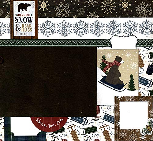 Sledding, Snow & Bear Hugs - Premade Winter Scrapbook Page