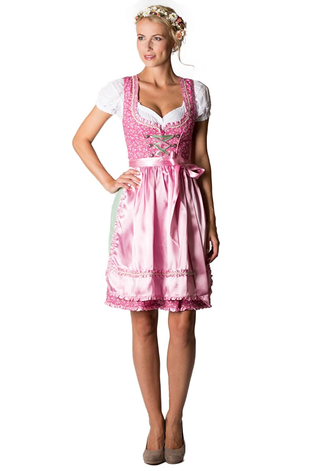 alpenfee damen midi dirndl yvonne pink rosa gr n d010221 kaufen. Black Bedroom Furniture Sets. Home Design Ideas