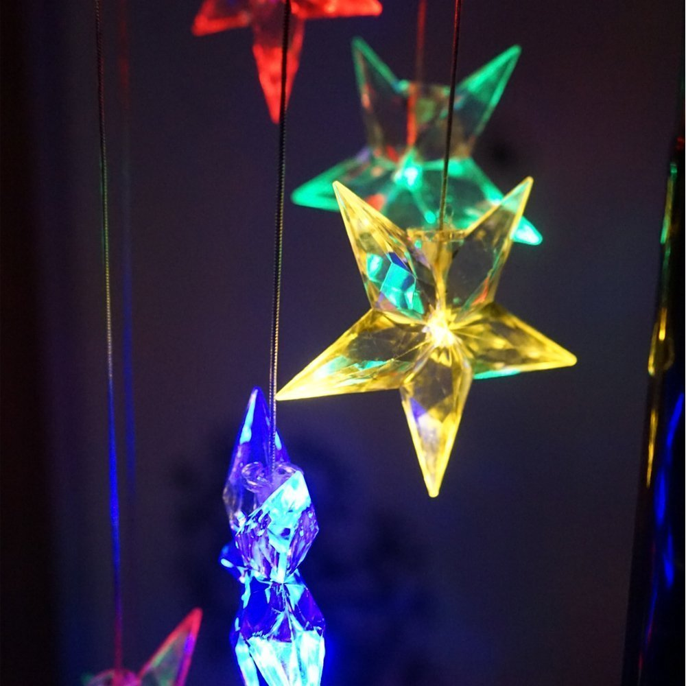Amazing Wind Chime Color Changing Solar Mobile Wind Chimes Lights Xmas Decoration Light Lucky Hanging Wind Bell Light Night Hanging lamp for Patio Garden Lighting Home Decoration (Stars)