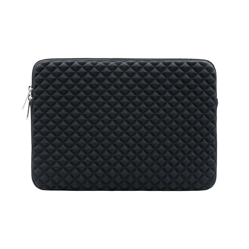 RAINYEAR Inch Laptop Sleeve Diamond Foam Shock Resistant Neoprene Padded Case Fluffy Lining Zipper Cover Bag Compatible with MacBook Pro Retina Touch Bar A1707 A1990 Black