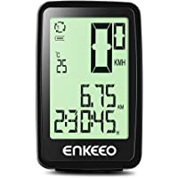 Enkeeo Wired Bike Computer USB Rechargeable Bicycle Speedometer Odometer with 12 Hour Backlight Display, Current/AVG/MAX Speed Tracking, Trip Time/ Distance Recording for Cycling