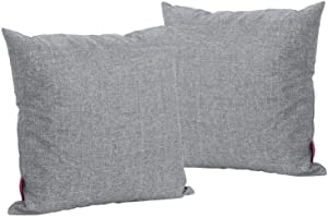 Christopher Knight Home Coronado Outdoor Water Resistant Square Throw Pillows, 2-Pcs Set, Grey