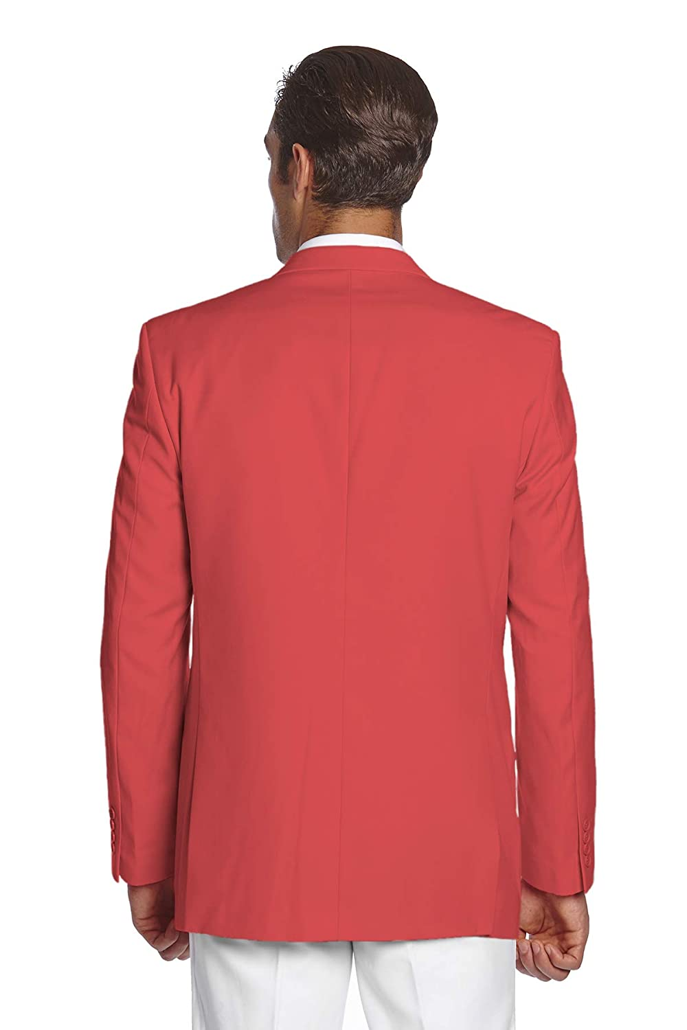 CONCITOR Mens Suit Jacket Separate Blazer Coat Solid CORAL PINK Color 2 Buttons