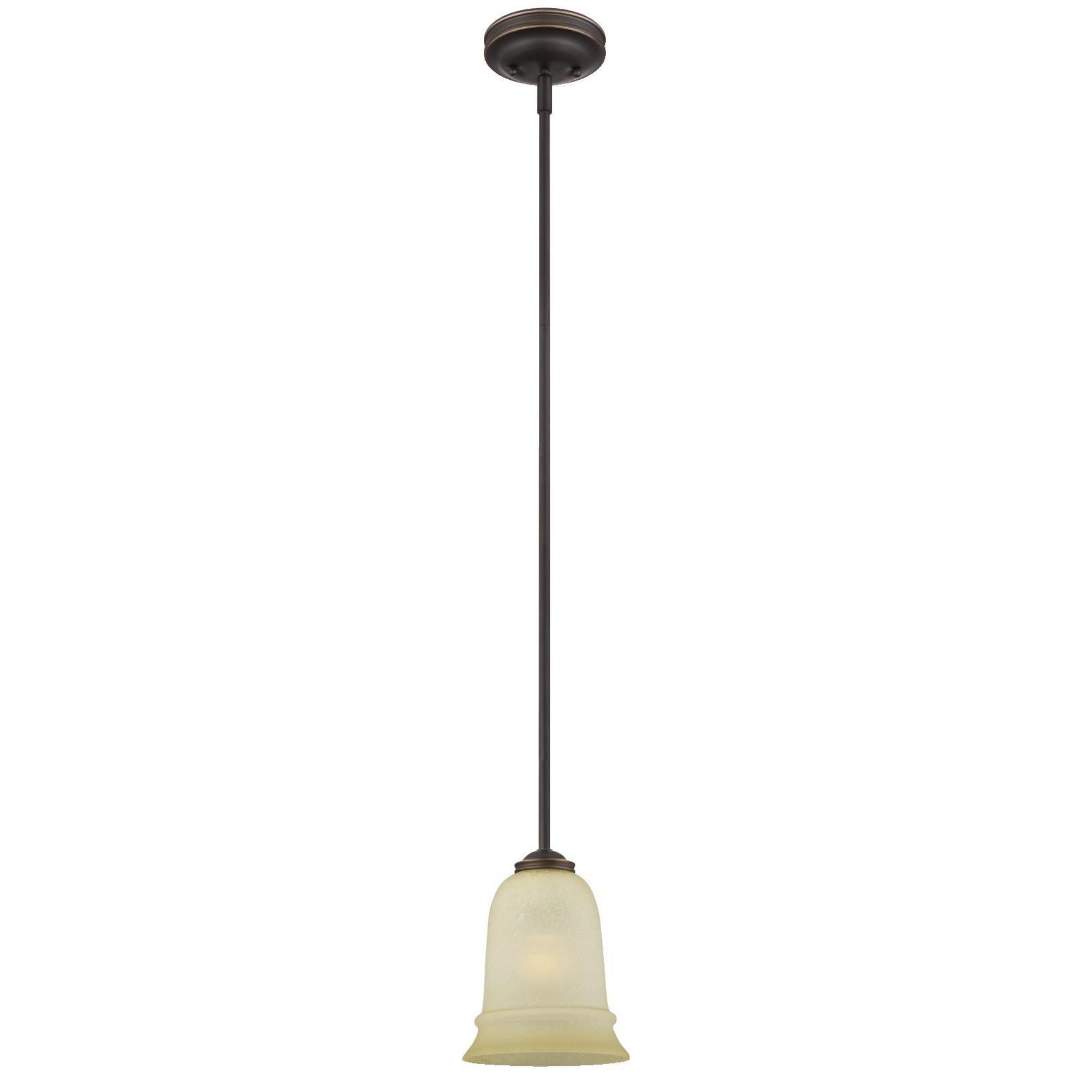 Westinghouse 6343100 Montrose One-Light Adjustable Indoor Mini Pendant, Oil Rubbed Bronze Finish with Highlights and Mocha Scavo Glass