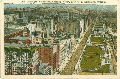 Postcard Chicago Illinois Michigan Boulevard from Aeroplane Ships from USA