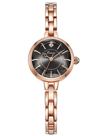 Alienwork Reloj Mujer Relojes Acero Inoxidable Oro Rosa Analógicos Cuarzo Negro Impermeable Strass Elegante Purpurina
