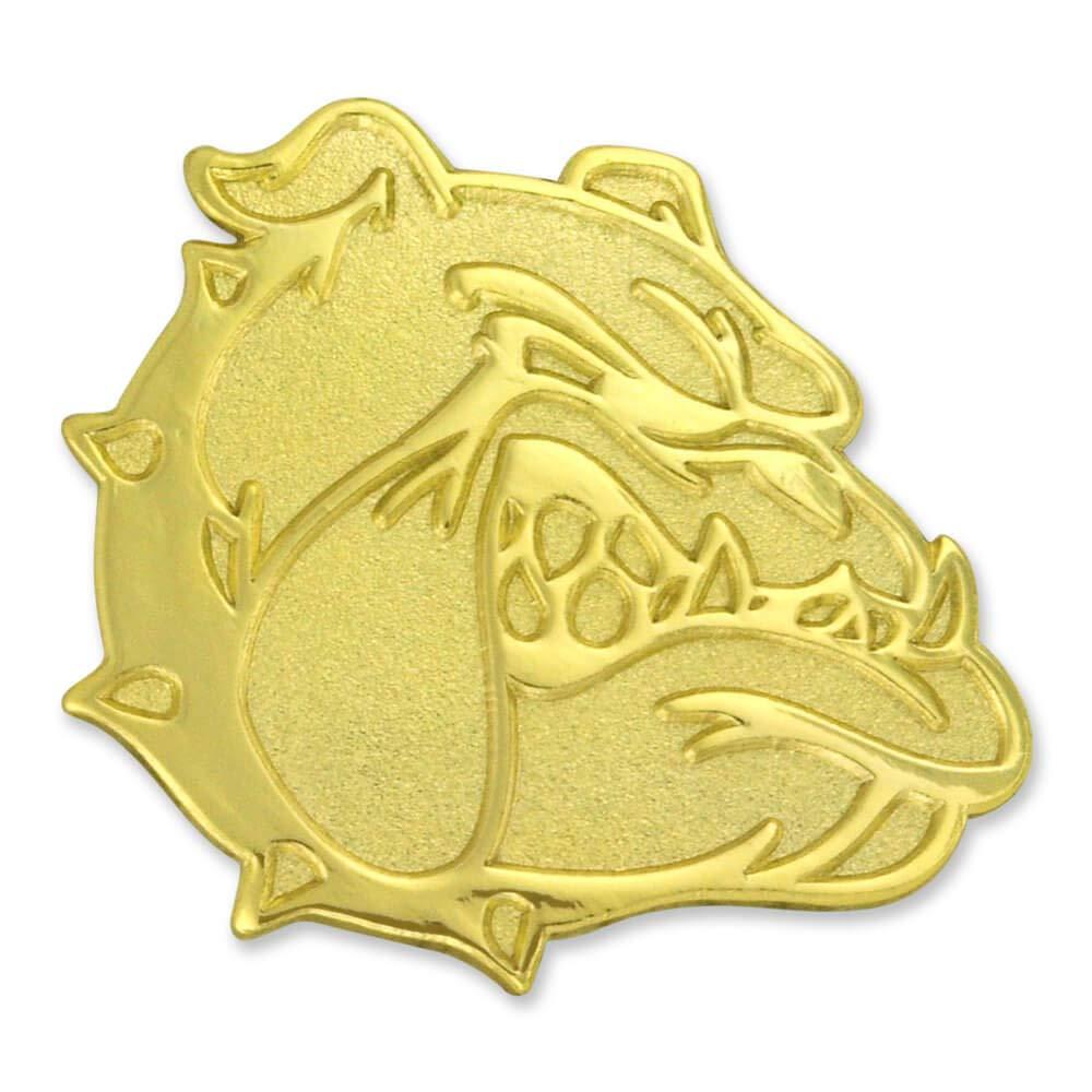 PinMart's Gold Chenille BULLDOG Mascot Letterman's Jacket Lapel Pin 1''