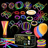 Multicolor Glow Sticks Bulk Party Pack - 248 Piece Light Stick Set - Includes 100x 8' Glow Sticks, 10x 11' Glow Sticks, 4x 3 Hole Joints, 110x Connectors, 4x Butterfly Bracelets, 5x Ball Joints, 2x Hair Accessories, 8 Glasses Accessories and 5x LED Balloons - Safe and Non-Toxic