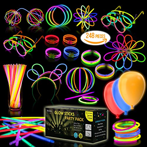 "Multicolor Glow Sticks Bulk Party Pack – 248 Piece Light Stick Set – Includes 100x 8"" Glow Sticks, 10x 11"" Glow Sticks, 4x 3 Hole Joints, 110x Connectors, 4x Butterfly -"