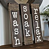 Relax Wash Soak Rustic Bathroom Sign with Wrapped Twine Set of 3 Large 4.5″ x 17.75″ For Sale
