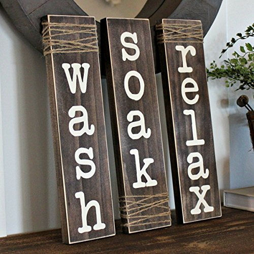 Relax Wash Soak Rustic Bathroom Sign with Wrapped Twine Set of 3 Large 4.5