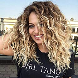 Ecosin Synthetic Baby Hair Braided Double Lace Front Wig Long Blonde Ombre Black Blonde Wigs Curly Wigs (B)