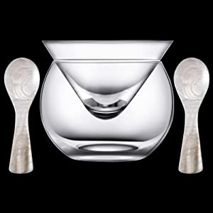 Glass Caviar Chiller Server Set and 2 Pieces Caviar Spoons 3.2 Inch Shell Spoon Mother of Pearl Caviar Spoons Round Handle for Caviar, Egg, Ice Cream, Coffee, Restaurant Serving