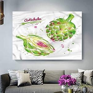 ParadiseDecor Wall Panels for Interior Wall Decor Artichoke,Watercolor Super Food Teacher Appreciation Gifts Under 10.00 L36 x H24 Inch