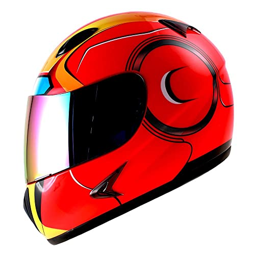 1Storm Motorcycle Street Bike BMX MX Youth Kids Full Face Helmet Iron Man Red