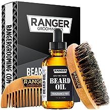 Beard Kit by Ranger Grooming Company by Leven Rose, 100% Organic Natural Fragrance Free Unscented Beard Oil, Boar Bristle Beard Brush, Natural Wood Comb Beard Care Starter Set for Men