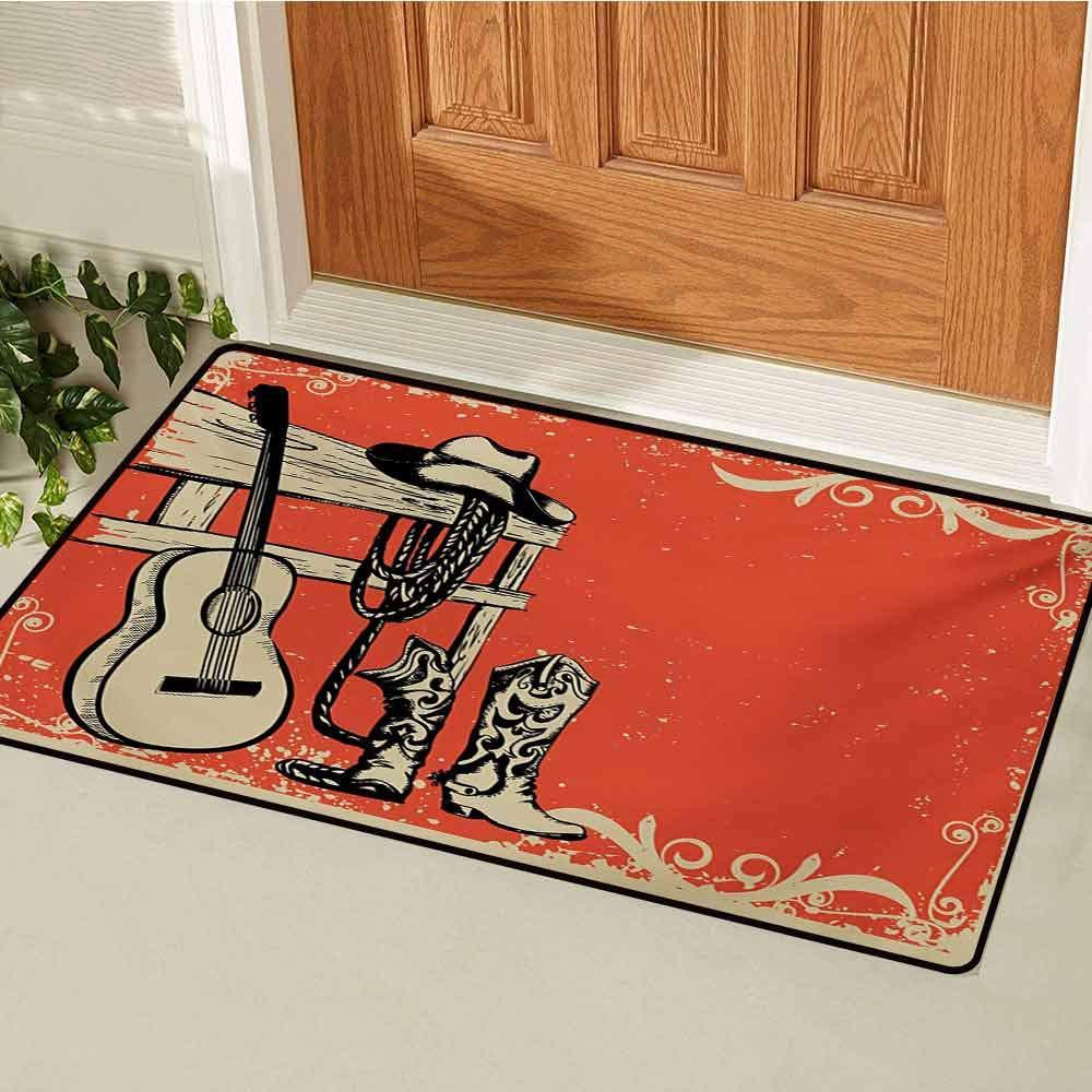 Western Universal Door mat Image of Wild West Elements with Country Music Guitar and Cowboy Boots Retro Art Door mat Floor Decoration W35.4 x L47.2 Inch Beige Orange by GUUVOR