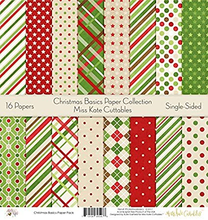 Christmas Scrapbook Paper.Pattern Paper Pack Christmas Basics Scrapbook Premium Specialty Paper Single Sided 12 X12 Collection Includes 16 Sheets By Miss Kate Cuttables