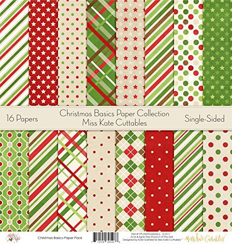 - Pattern Paper Pack - Christmas Basics - Scrapbook Premium Specialty Paper Single-Sided 12