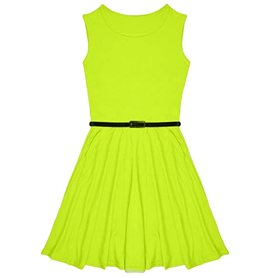 4eba9f6b40 Amazon.com: Miss Vanilla New Girls Plain Skater Dress Kids Party ...