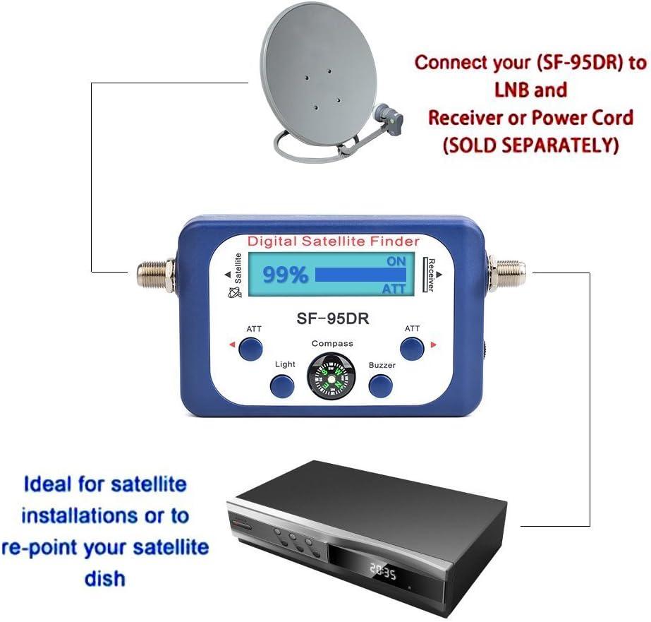 JZK SF-95DR buscador satélites digital localizador satélite digital con cable de conexión satélites señal detector para orientar la parabólica TVHD ...