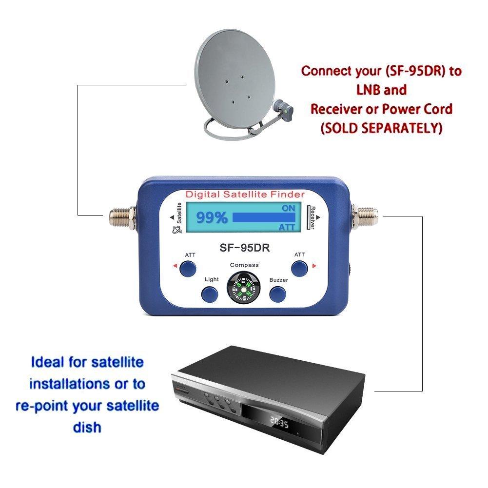 JZK SF-95DR buscador satélites digital localizador satélite digital con cable de conexión satélites señal detector para orientar la parabólica TVHD medidor ...