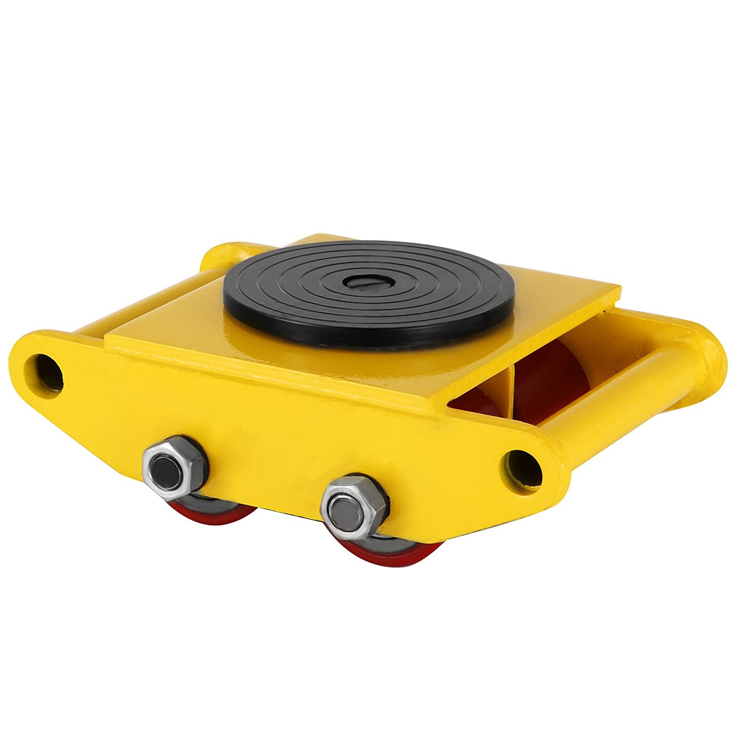 MosaicAL Machinery Mover 12T 26400LBS Capacity Machinery Rolling Skate Heavy Duty All-steel Construction Industrial Transport Machinery Mover Yellow Color(12T 26400LBS)